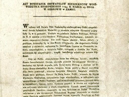 Ogłoszenie Aktu Powstania Przez Tadeusza Kościuszkę Portal